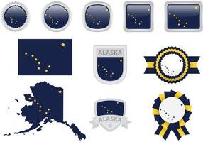 Ícones do vetor da bandeira do Alasca
