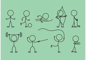 Stick Figure Icons Sports