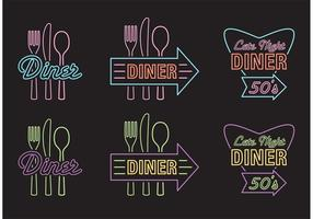 50's Diner Advertising Sign Vectors