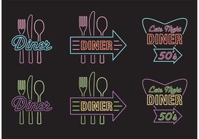 Vetores de sinal de publicidade de jantar de 50's