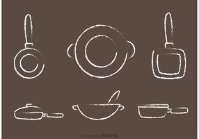 Chalk Drawn Pan with Handle Vectors