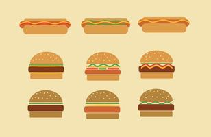 Fast Food Hamburgers and Hot Dog Vectors