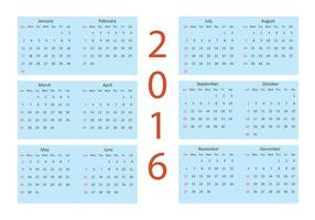 Calendário vetorial 2016