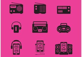 Ícones do vetor de rádio