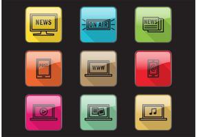 Lange Schatten Medien Icons