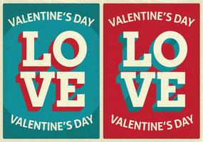 Retro Style Cute Valentine's Day Cards vector