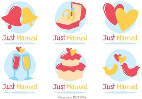 Just Married Flat Icons Vector