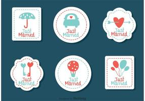 Stitched Just Married Wedding Vectors