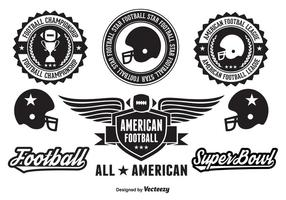 Amerikaanse voetbal badges en elementen