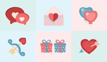 Iconos de la tarjeta del día de San Valentín y del amor