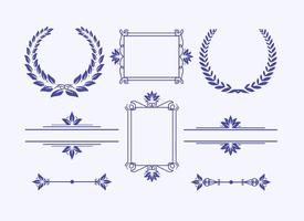 Elegant frames and wreaths vector