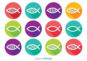 Icônes de symboles de poisson chrétien