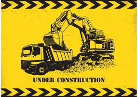 Autocarro con cassone ribaltabile ed escavatore di vettore