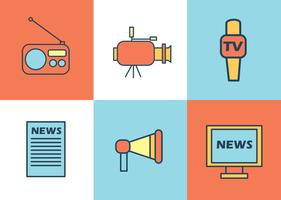 Nachrichten Reporter Icons Vektor