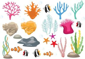 Récif de corail avec des vecteurs de poisson