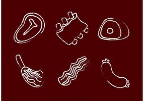 Vettori di carne disegnata a gesso