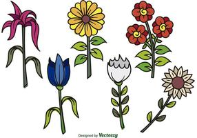 Cartoon Hand Drawn Flower Vectors