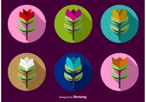 Colour Flat Flower Icon Vectors