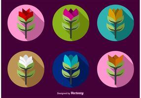 Colour Flat Flower Icon Vectors