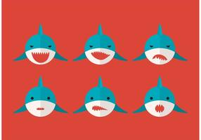 Great White Shark Vector Faces