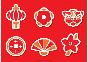 Kinesisk Lunar New Year Stiker Vector