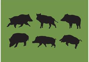 Vecteurs de silhouettes de porcs sauvages