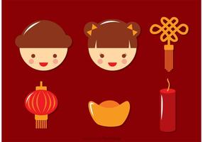 Flat Chinese Lunar New Year Icons Vector
