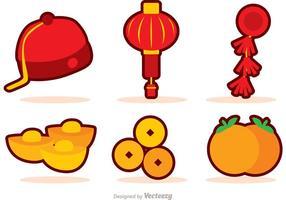 Kinesisk nyår ikoner vektor