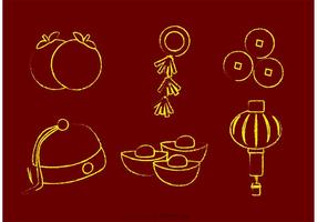 Krijtgetekende Chinees Maan Nieuwjaar Vectoren