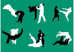Jiu Jitsu Vektor Silhouetten