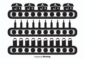 Conveyor Belt Silhouette Vectors