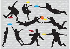 Vecteurs de joueurs de silhouette frisbee
