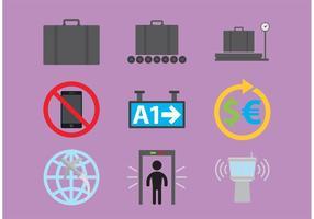 Ícones do vetor do aeroporto