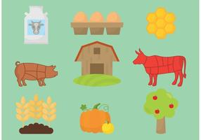 Organic Farm Icon Vectors