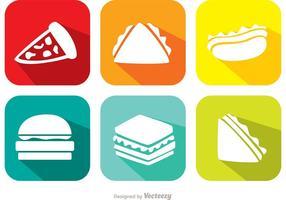 Ícones de vetor de alimentos brilhantes