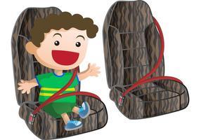 Vector de cinto de segurança com criança pequena