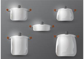 Stainless Steel Pan with Handle Vectors