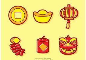 Desenhos animados chineses de Ano Novo lunar vetores