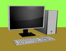 Dator med bildskärm och tangentbord
