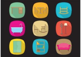Vector pictogrammen van lange schaduw meubels