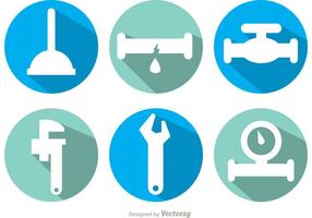 Plumbing Long Shadow Icon Vectors