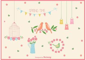 Vector Spring Time Bird Cage Elements