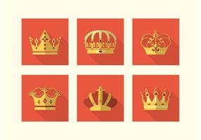 Flat Crowns Vector Icons