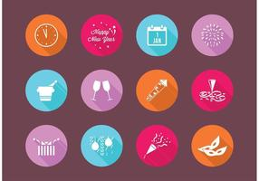 Flat New Years Eve Vector Icons