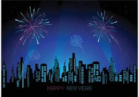 Free Cityscape With Fireworks Vector