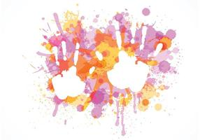 Child Handprint On Colorful Splashes Vector