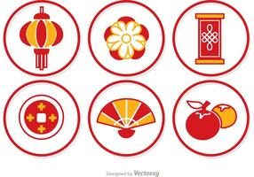 Simple Lunar New Year Kreis Icons Vektor