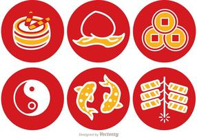 Lunar New Year Round Icons Vector