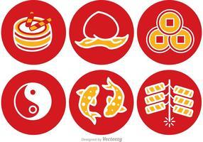 Lunar Neujahr Runde Icons Vektor