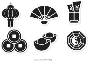 Lunar New Year Black Icons Vektor